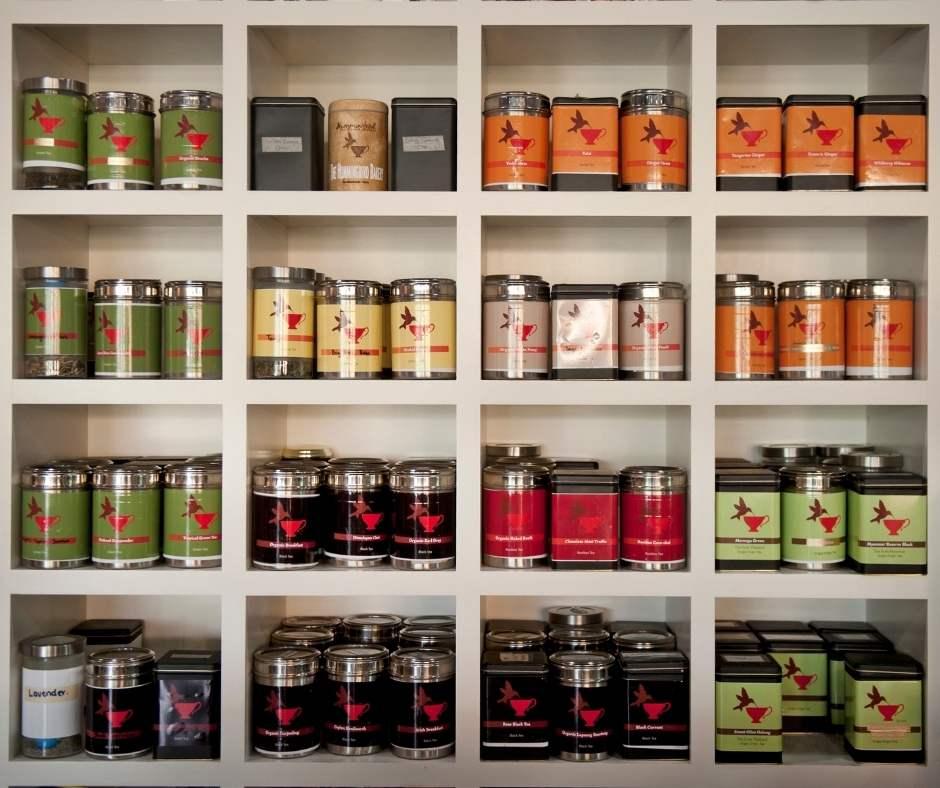 Hummingbird Tearoom Tea Wall